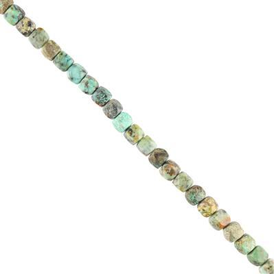 80cts African Turquoise Faceted Cubes Approx 4mm, 28cm Strand.