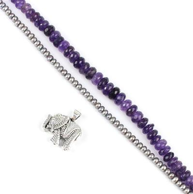 Majestic Elephant: Sterling Silver Elephant, 104cts Amethyst Rondelles, Dyed Silver Pearls