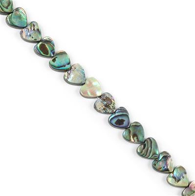 Abalone Flat Hearts Approx 12x12mm, Approx 38cm Strand