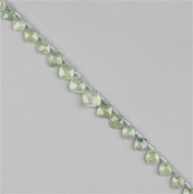 58cts Prehnite Graduated Faceted Cushions Approx 7 to 11mm, 30cm Strand.