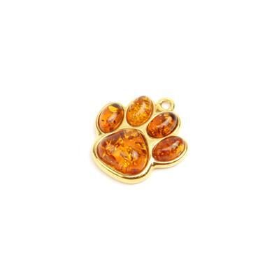 Gold Plated Sterling Silver Baltic Cognac Amber Paw Print Pendant Approx 18mm