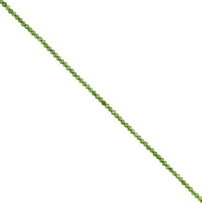 10cts Chrome Diopside Micro Faceted Rounds Approx 2mm, 30cm Strand.