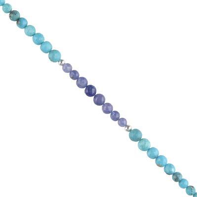 35cts Tanzanite & Arizona Turquoise With Sterling Silver Ball Faceted Rounds Approx 4 to 6mm, 14cm Strand.