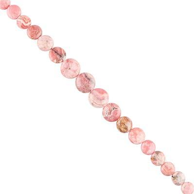 120cts Rhodochrosite Graduated Plain Coins Approx 7 to 13mm, 22cm Strand.