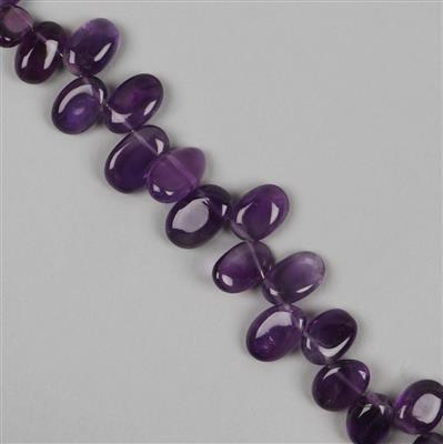 65cts Amethyst Graduated Plain Ovals Approx 7x5 to 11x7mm, 18cm Strand.