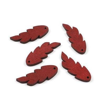 Burgundy Wooden Leaves Approx 47x17mm (5pcs/pack)