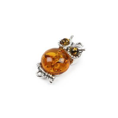 Baltic Cognac Amber Sterling Silver Owl Connector Approx 21x10mm