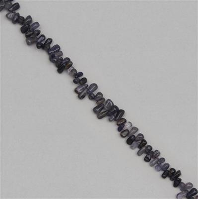 100cts Iolite Graduated Irregular Plain Drops Approx 5x2 to 11x4mm, 30cm Strand.