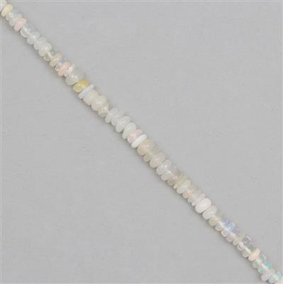 8cts Ethiopian Opal Graduated Plain Rondelles Approx 1x1 to 4x1mm, 16cm Strand.