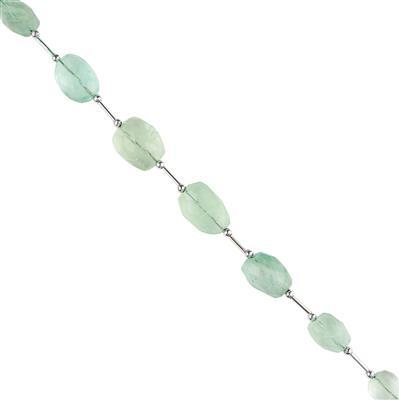 145cts Green Fluorite Graduated Faceted Large Nuggets Approx 12x10 to 20x13mm, 18cm Strand.