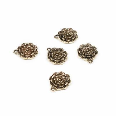 Polished Oxidised Brass Flower Charm - 15x12mm (5pcs/pk)