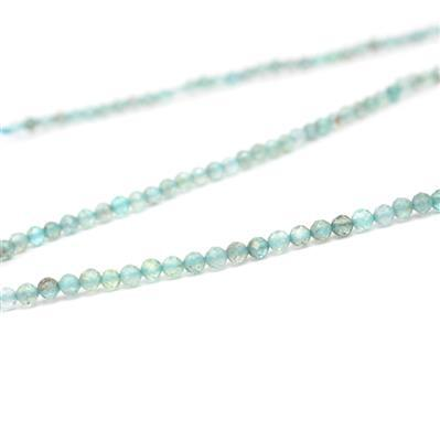 15cts Apatite Faceted Rounds Approx 2mm 38cm strand