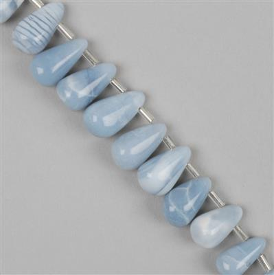 105cts Blue Opal Graduated Plain Drops Approx 8x5 to 16x8mm, 20cm Strand.