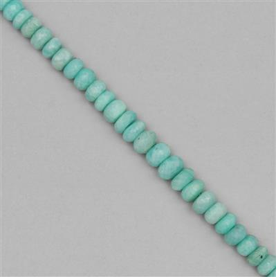 144cts Amazonite Graduated Faceted Rondelles Approx 6x3 to 9x6mm, 25cm Strands.