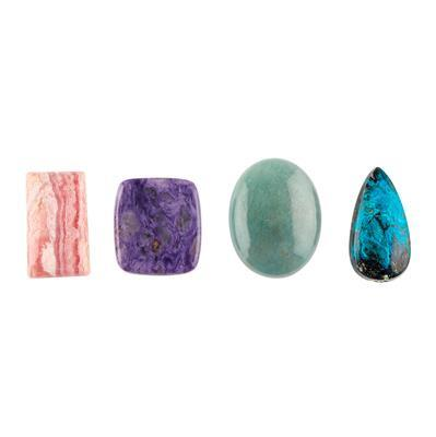 120cts Multi Gemstone Multi Shape Cabochons Assortment.(Pack of 4)