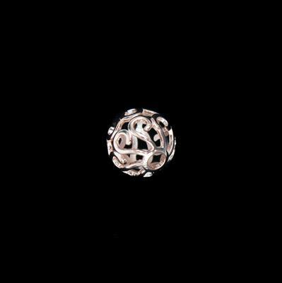 Rose Gold Plated 925 Sterling Silver Filigree Ball Pendant Approx 15mm 1pc