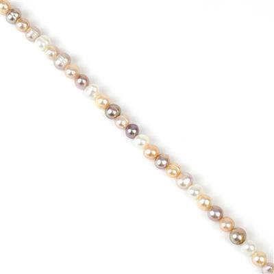 Multi-Colour Freshwater Cultured Pearl Potato Beads Approx 5x6 to 6x7mm, Approx 38cm Strand