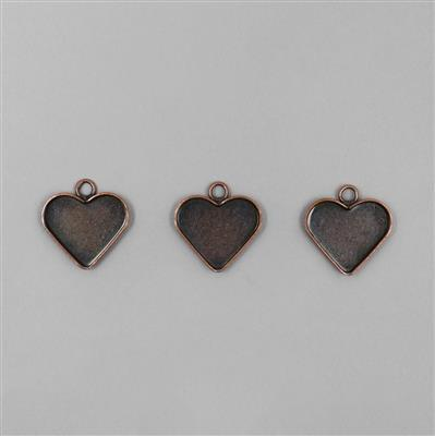Antique Copper Plated Bezel Heart Pendants - 20mm (3pcs/pk)