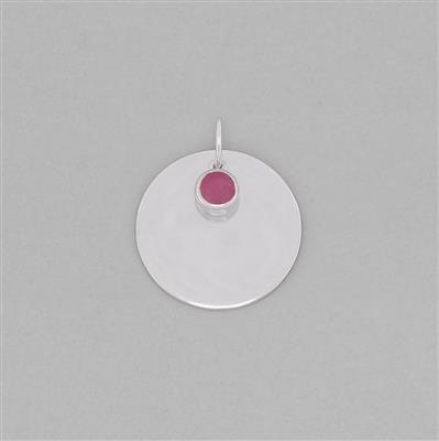 925 Sterling Silver Round Tag Charm Approx 28x24mm Inc. 0.75cts Ruby Brilliant Round Approx 5mm