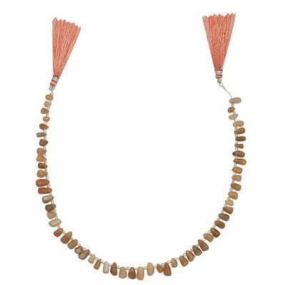75cts Peach Moonstone Graduated Irregular Plain Drops Approx From 5x3 to 10x5mm, 31cm Strand.