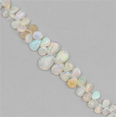 10cts Ethiopian Opal Graduated Plain Pears Approx 4x3 to 8x6mm, 8cm Strand.