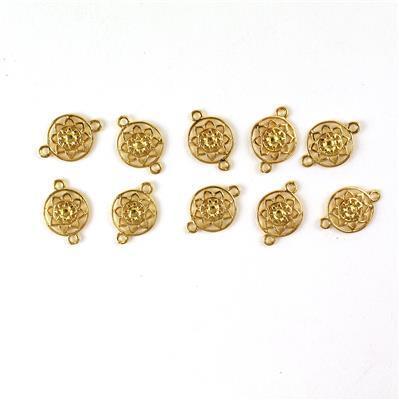 Gold Colour Base Metal Mandala Connectors, Approx 19x12mm (10pcs)