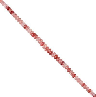 115cts Sagenitic Quartz Graduated Faceted Rondelles Approx 7x3 to 9x4mm, 20cm Strand.