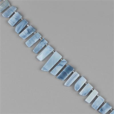 205cts Blue Opal Graduated Plain Bars Approx 11x7 to 29x8mm, 20cm Strand.