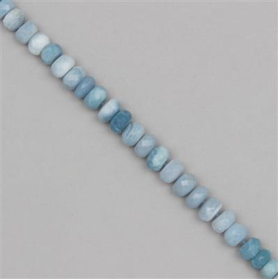 100cts Blue Opal Graduated Faceted Rondelles Approx 5x2 to 10x6mm, 21cm Strand.
