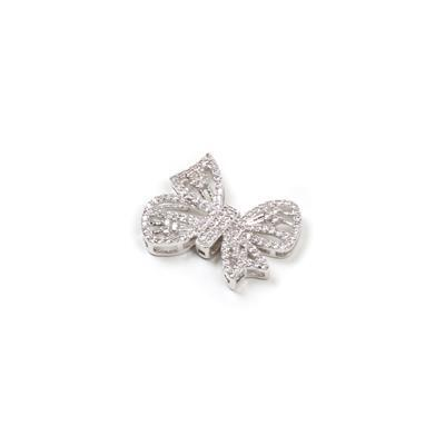 Zinc Alloy Plated Brass Bowknot Connector with Cubic Zirconia Approx 27x22mm