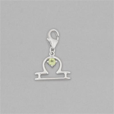 Zodiac Collection: 925 Sterling Silver Libra Charm With Lobster Lock Approx 21x14mm Inc. 0.12cts Peridot Brilliant Round Approx 3mm