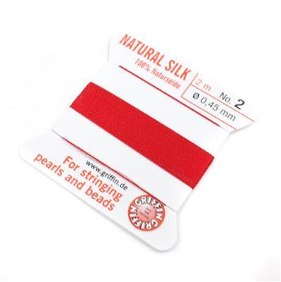 Silk Thread, Size 02 (.45 mm, .018 in) - Red, with needle, 2 m (6.5 ft)
