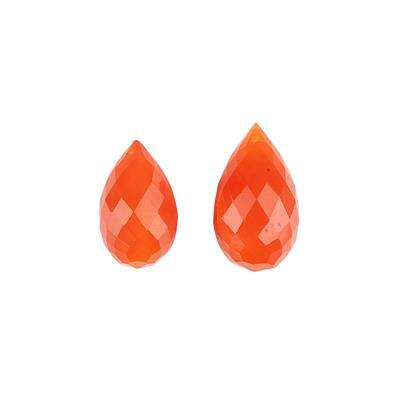 80cts Carnelian Faceted Elongated Drilled Drops Approx 22x12 to 26x17mm. (Pack of 2)