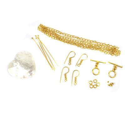Seashell INC Gold Plated Base Metal Findings Kit & White Shell Puffy Heart Cabochon