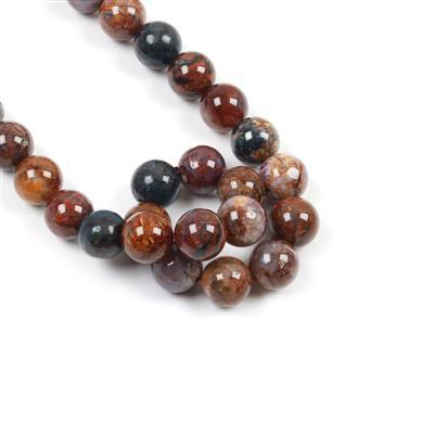 290cts Pietersite Plain Rounds Approx 10mm 38cm strand
