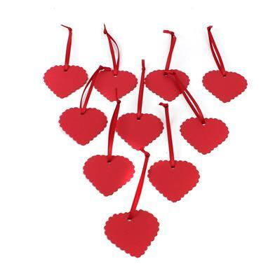 Red Heart Shape Gift Tags 50x46mm (10pk)