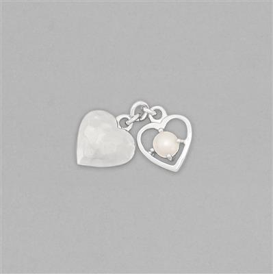 925 Sterling Silver Double Heart Charm Approx 15x10mm Inc. Freshwater Cultured Pearl Approx 4mm