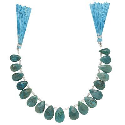 90cts Chrysocolla Graduated Faceted Pears Approx From 11x7 to 16x10mm, 15cm Strand.