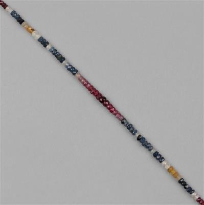 30cts Multi Sapphire Graduated Faceted Rondelles Approx 2x1 to 4x2mm, 18cm Strand.