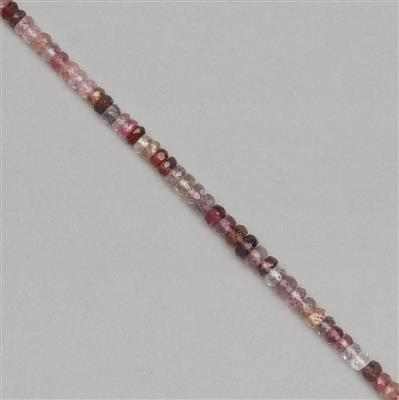25cts Burmese Spinel Graduated Faceted Rondelles Approx 1x1 to 4x1mm, 18cm Strands.
