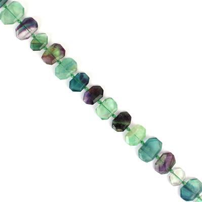 400cts Fluorite Faceted Slabs Approx 14x20 - 15x23mm, 38cm strand