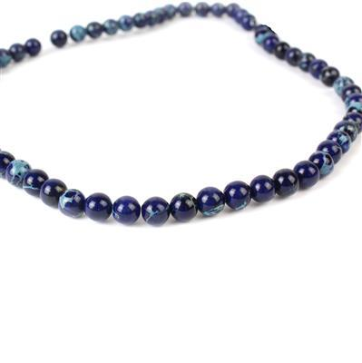 60cts Royal Blue Terra Jasper Plain Rounds Approx 6mm, 40cm Strand
