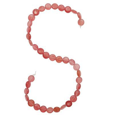 135cts Peach Colour Dyed Quartz Plain Puffy Coins Approx 10mm, 36cm Strand.
