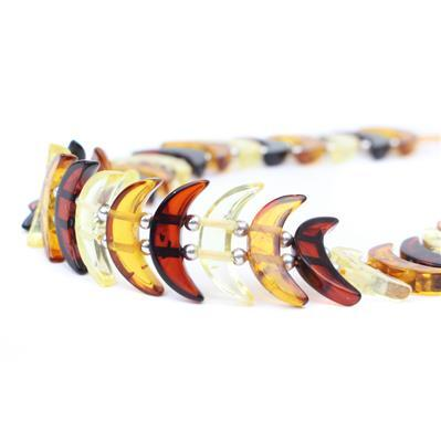 Baltic Multi-colour Amber Moon (Double Drilled) Approx 14x4mm, 20 cm Strand inc Sterling Silver Spacers
