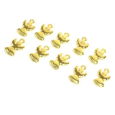 Gold Colour Base Metal Angel Charms Approx 13x9mm (10pcs)