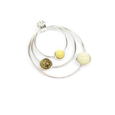 Baltic Multi Colour Amber Sterling Silver Circled Pendant 28x32mm (Butterscotch, Off-White, Earthy)
