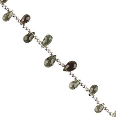 9cts Moldavite Graduated Faceted Drops Approx 4x2 to 8x4mm, 8cm Strand.