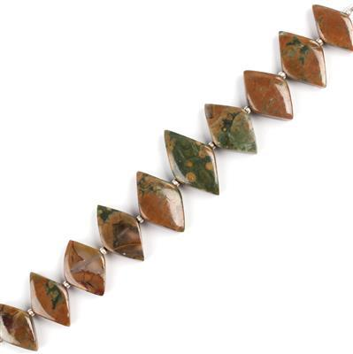 80cts Rhyolite Graduated Plain Rhombus Approx 16x8 to 21x12mm, 12cm Strand.