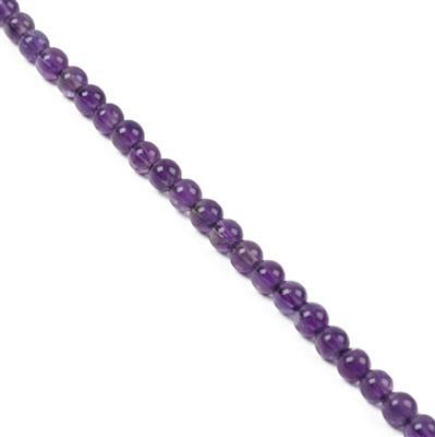 40cts Zambian Amethyst Plain Rounds Approx 4mm 38cm strand