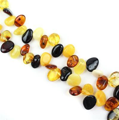 Multicolour Baltic Amber Nuggets Approx 7x4 to 18x11mm 41cm